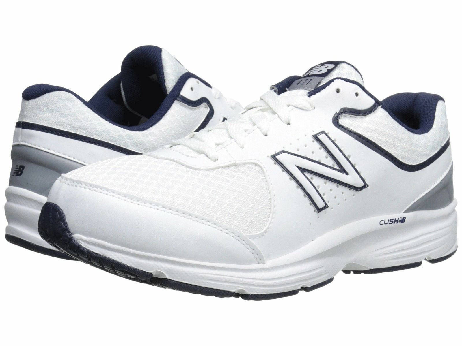 Men New Balance MW411WB2 Walking schuhe Wide (2E) Weiß Weiß Weiß Blau 100% Authentic New c1028d