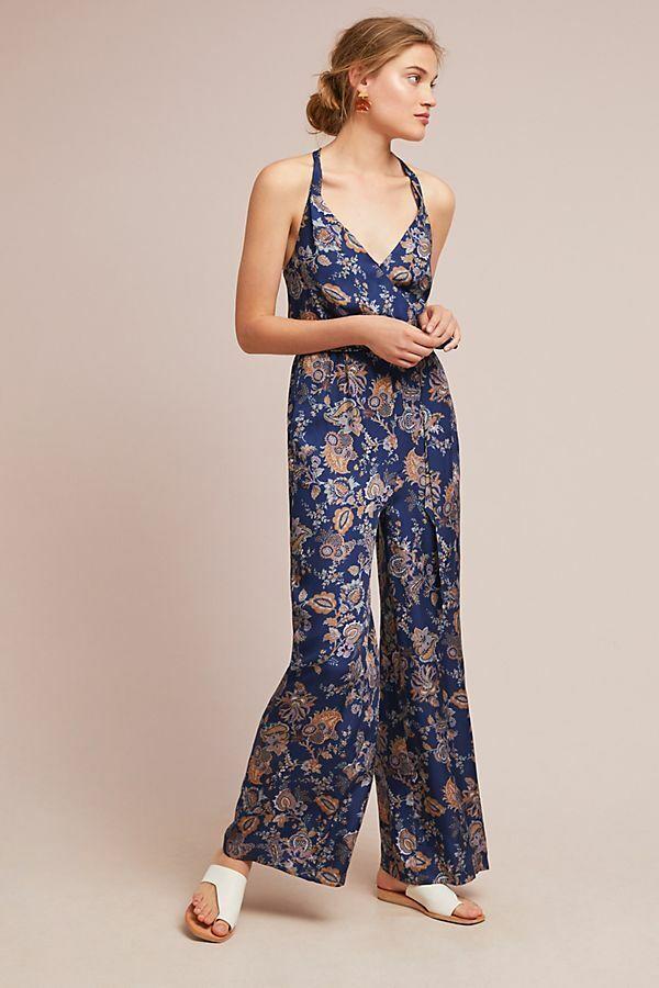 NWOT Anthropologie Ett Twa bluee orange Paisley Floral Print Jumpsuit Size XS