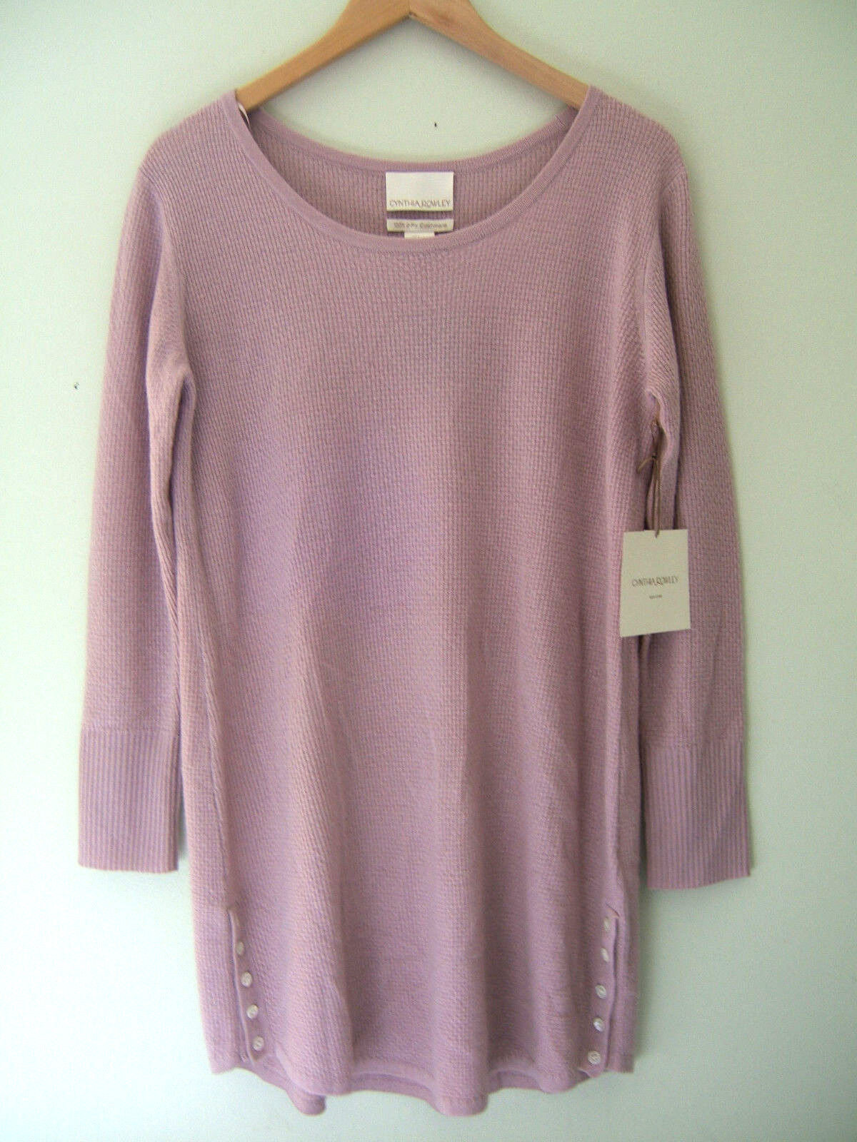 NWT Cynthia Rowley New York 100% Cashmere Luxurious Lounge Mauve Sweater L  260