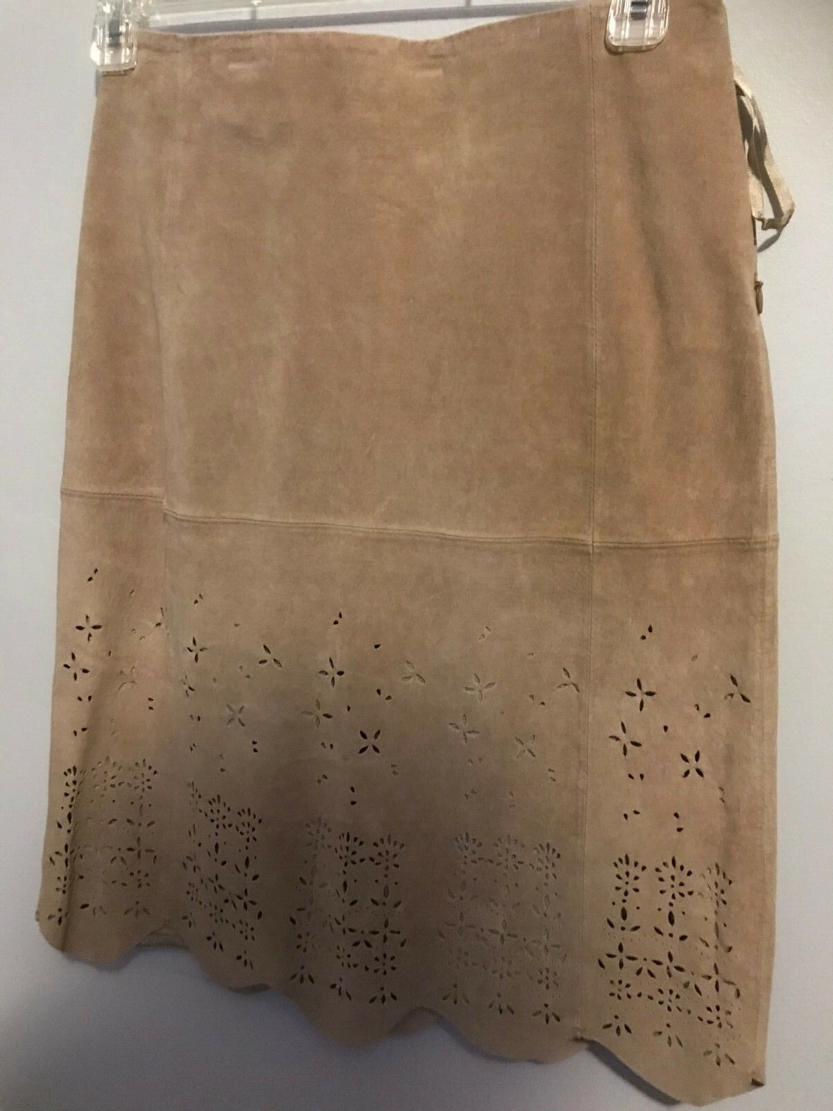J Marco Catalog Tan Suede Cut Out Skirt - Size 8