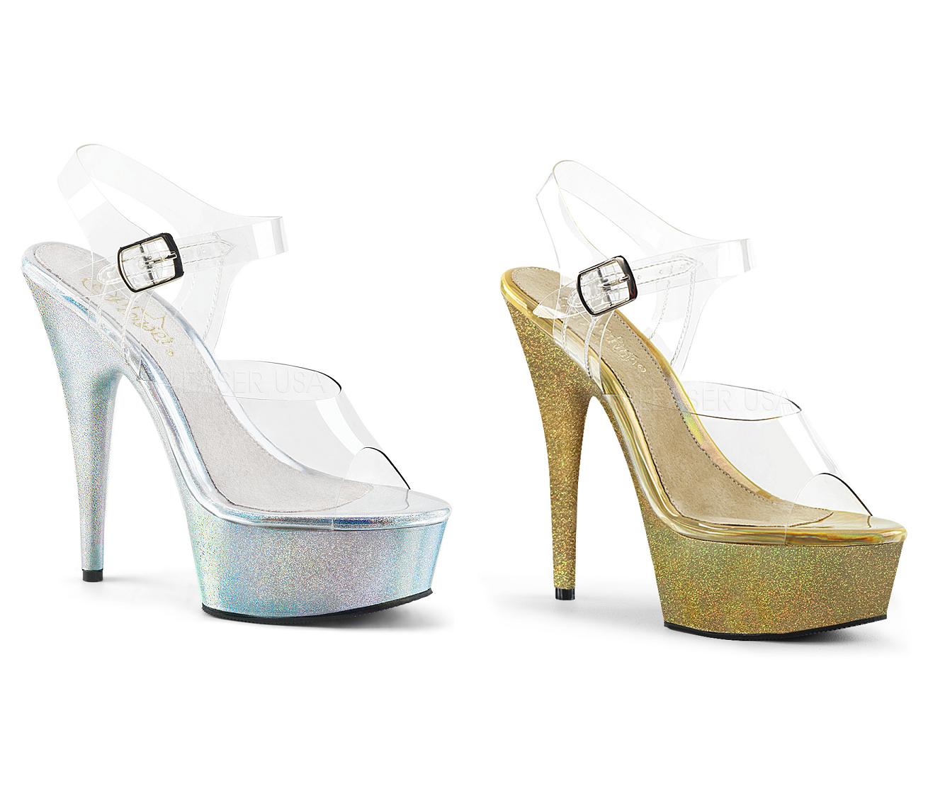risparmia il 50% -75% di sconto Pleaser DELIGHT-608HG Platform Ankle Strap Sandal Holographic Glitter 6    Heel  Negozio 2018