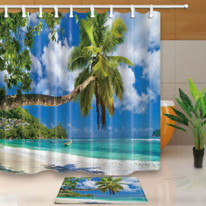 Details About Brand Hot Tropical Beach Shower Curtain Bathroom Waterproof Fabric 12hooks New