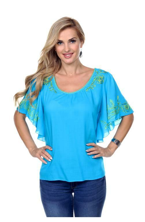 Woherren Top Blouse Turquoise Krista Lee Papyrus Embroidery Butterfly Sleeves