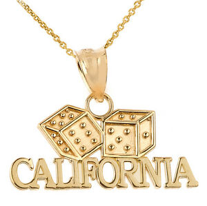 Fine 14k yellow gold california dice pendant necklace gamble casino image is loading fine 14k yellow gold california dice pendant necklace aloadofball Image collections