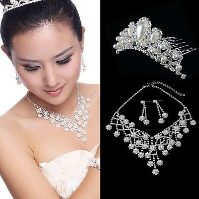 New Faux Pearl Rhinestones Necklace Earrings Crown Wedding Bridal Jewellry Set