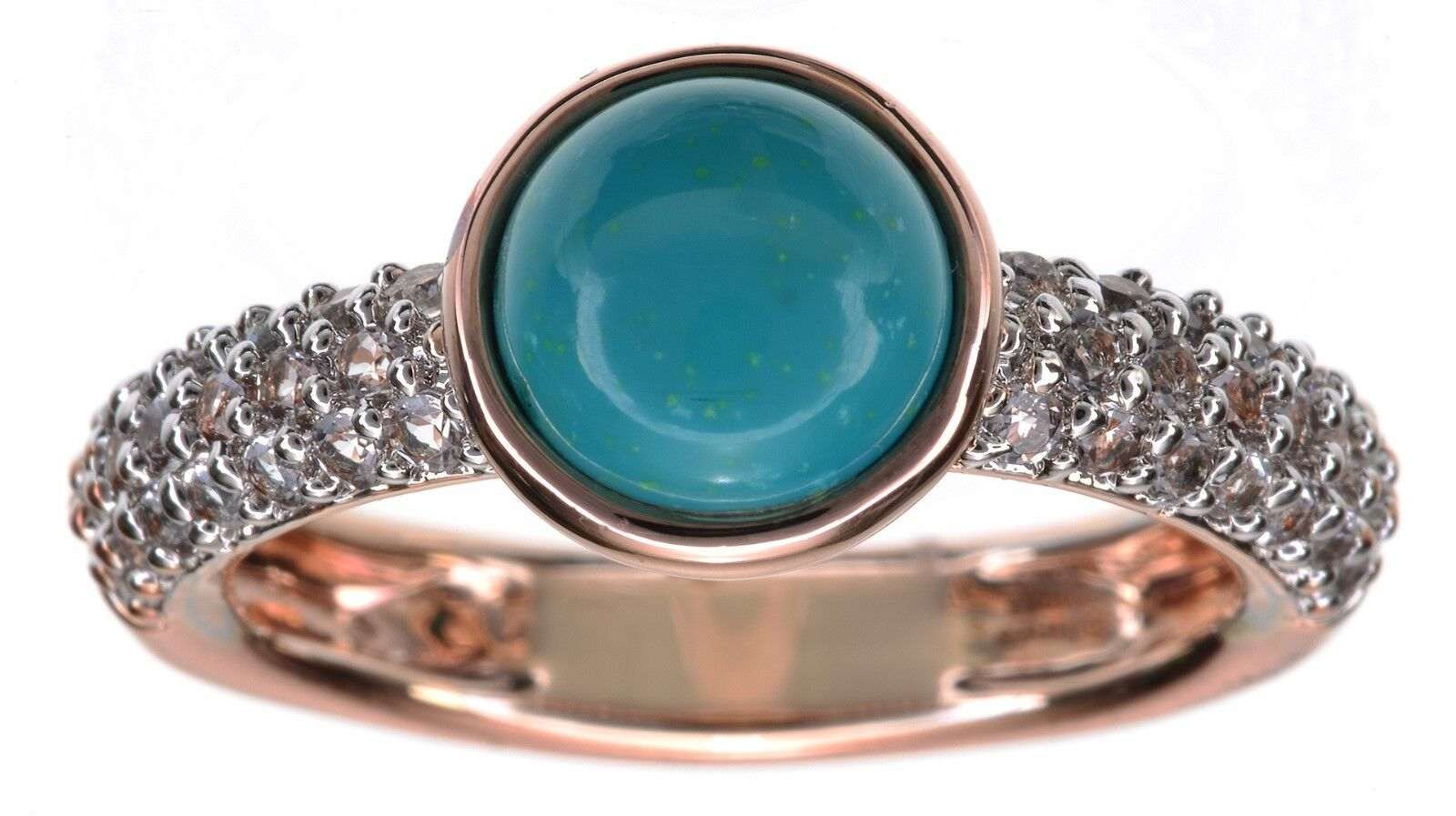 Bronzo Turquoise and CZ Ring Size 7
