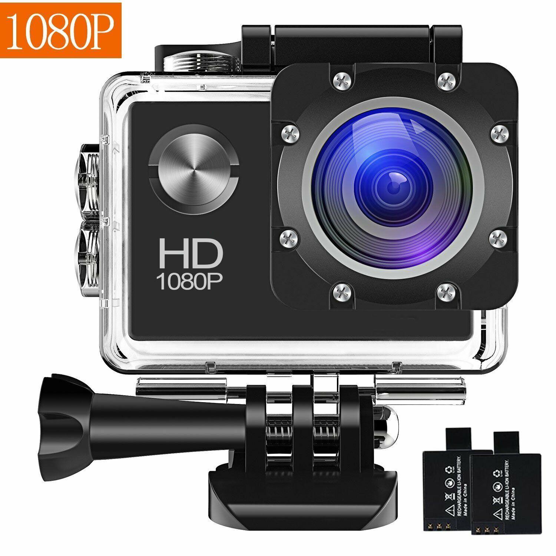 Action Camera, 12MP 1080P 2 Inch LCD Screen, Waterproof Sports Cam 120 Degree 1080p 12mp action cam degree inch lcd sports waterproof
