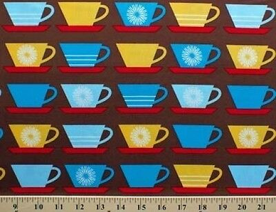 Coffee Cups Mugs on Brown Happy Home Cotton Fabric Print by the Yard D679.15