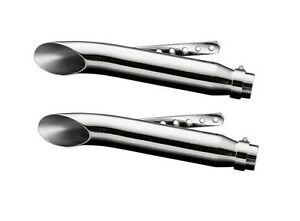 Pair-of-CHROME-TURNOUT-SLASH-CUT-Motorcycle-Exhaust-Mufflers-40cm-long-65-938-x2