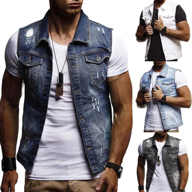 Fashion Men Denim Vest Sleeveless Outdoor Washed Ice blue Jeans Waistcoat