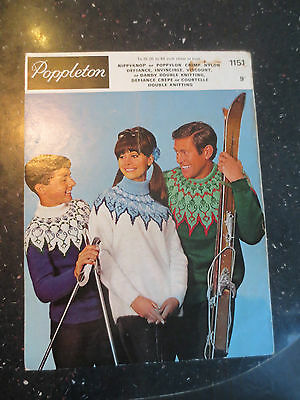 VINTAGE Poppleton Knitting Pattern Family Polo Crew Neck Nordic Ski Sweaters DK