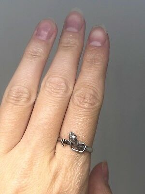 Adjustable Vintage Floral decoration Sterling Silver 925 Snake Ring with Rubies