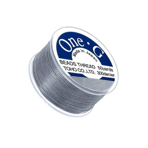 approx. 45.72 m Carrete japonés Toho uno-G 0.2 mm 100/% nylon abalorios Hilo Gris 50 YD Q109//3