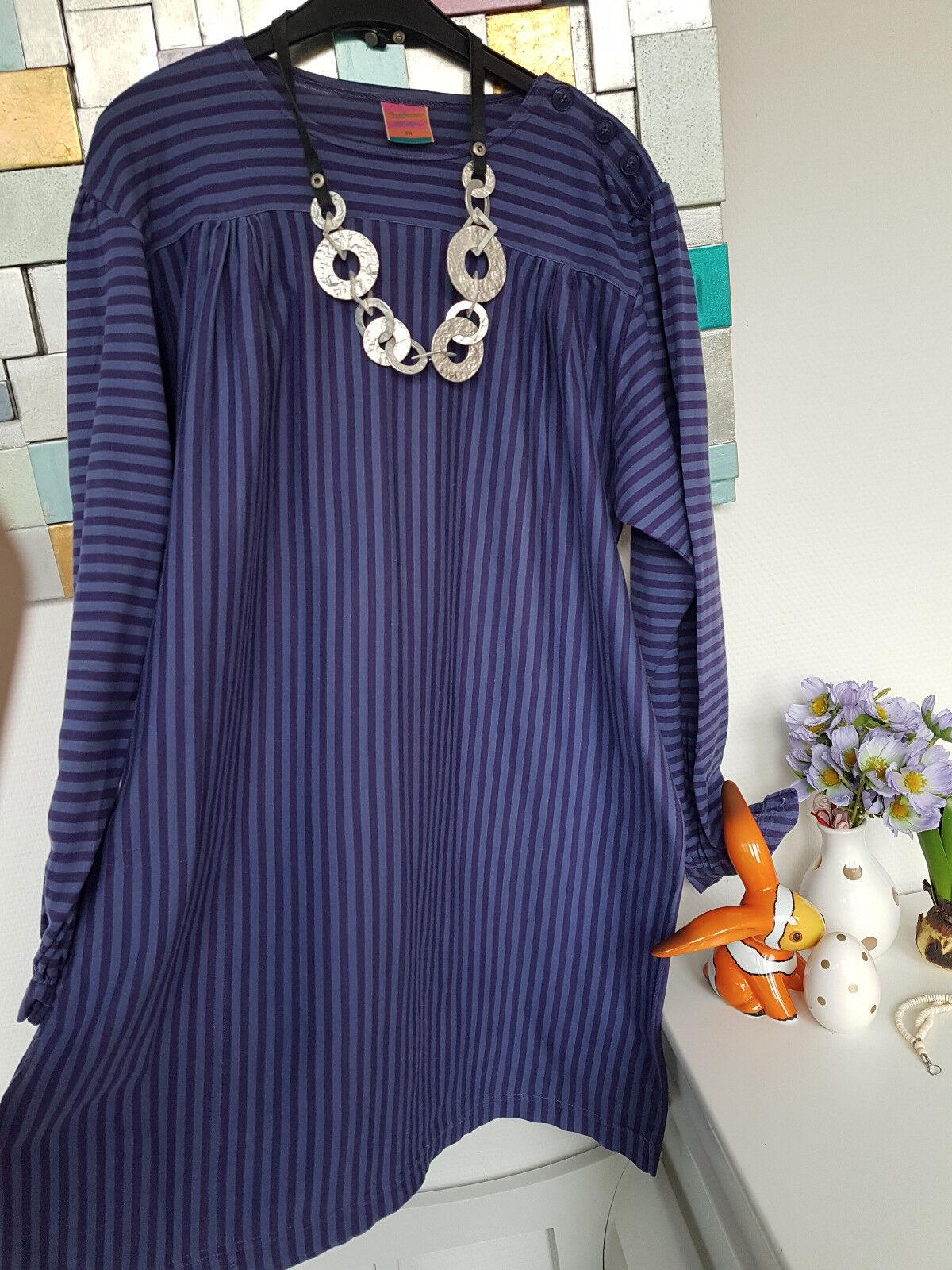 Gudrun Sjöden schöne gestreifte lange Tunika Gr. M 100% Cotton Farbe Blau Lila