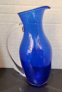 Vintage-Hand-Blown-Cobalt-Blue-Glass-Pitcher-with-Clear-Vase-amp-Handle-11-25-034-T