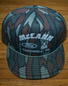 b89a0300b2b15 Image is loading Vintage-Camo-McCann-Ford-Mitsubishi-Virginia-Snapback-Hat-