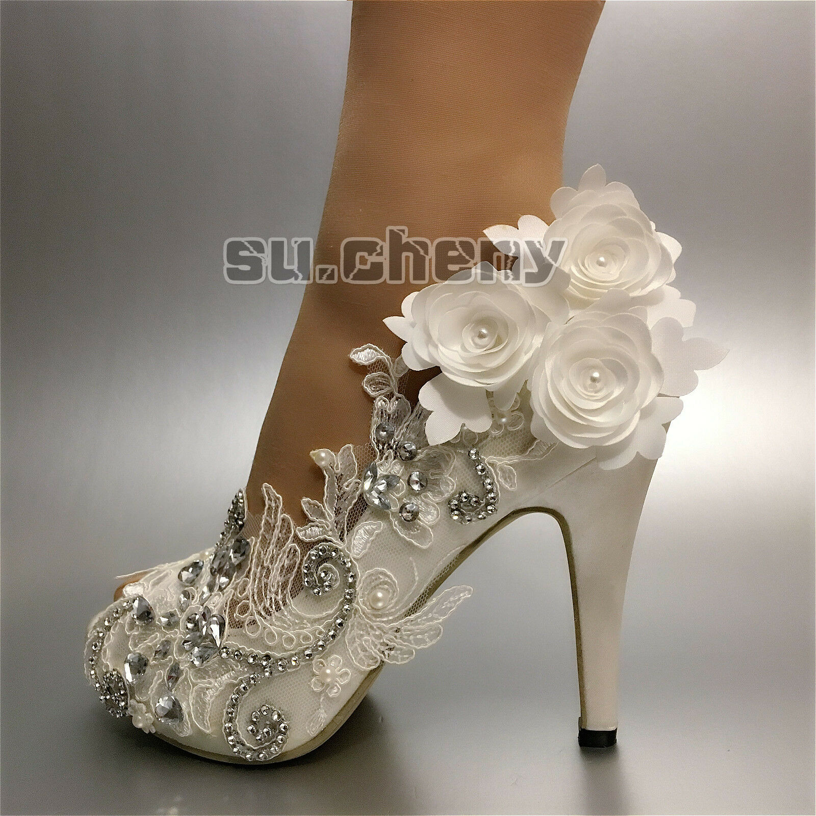3 4 Heel Satin White Ivory Lace Flowers Open Toe Wedding Shoes Bride Size