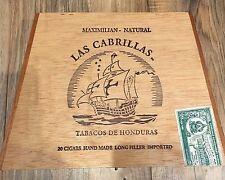 Las Cabrillas Tabacos de Honduras Cigar Box  Natural Wood trapezoid stamp