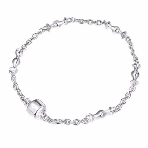 Fine Silver Bangle Chaîne Bracelet Simili Cuir New Designs for 925 Silver Bead Charms