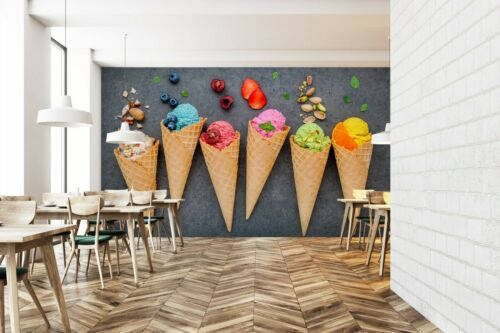 3D Ice Cream PKE771 Business Wallpaper Wall Mural Self-adhesive Commerce Kay