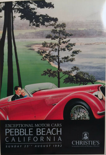 Pebble Beach Christies Alfa Romeo 2900 Original Vintage Poster by Ken Eberts HOT