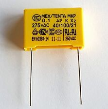 0.1uF 275v 100nF 40//100//21 Safety Capacitor pitch 15mm flexi wire-ref:718 2pcs