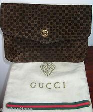 GUCCI Suede HANDBAG Vintage Clutch Bag Leather GG LOGO Brown Purse EXCLNT & RARE