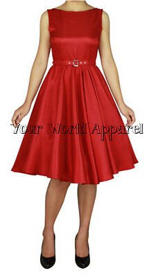 Hepburn Style Red Rockabilly Swing Evening Pinup Prom Retro Satin Dress