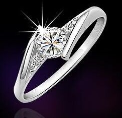 925 Silber Ring + 3 Zirkonia Ringe Silberringe Eheringe Partnerringe  in 5 Größe