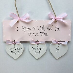 Personalised New Born Baby Girl Boy  Christening Baptism Naming Day Gift Plaque
