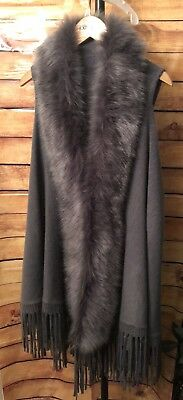 Long Sweater Vest Wrap With Faux Fur Collar Boho Fringe One Size