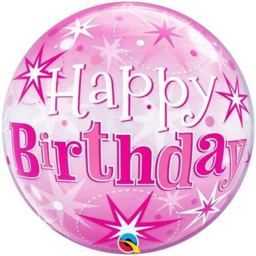 QUALATEX SPARKLE PRINTED AGE BIRTHDAY BUBBLE BALLOON PINK BLUE PLASTIC BALLOONS