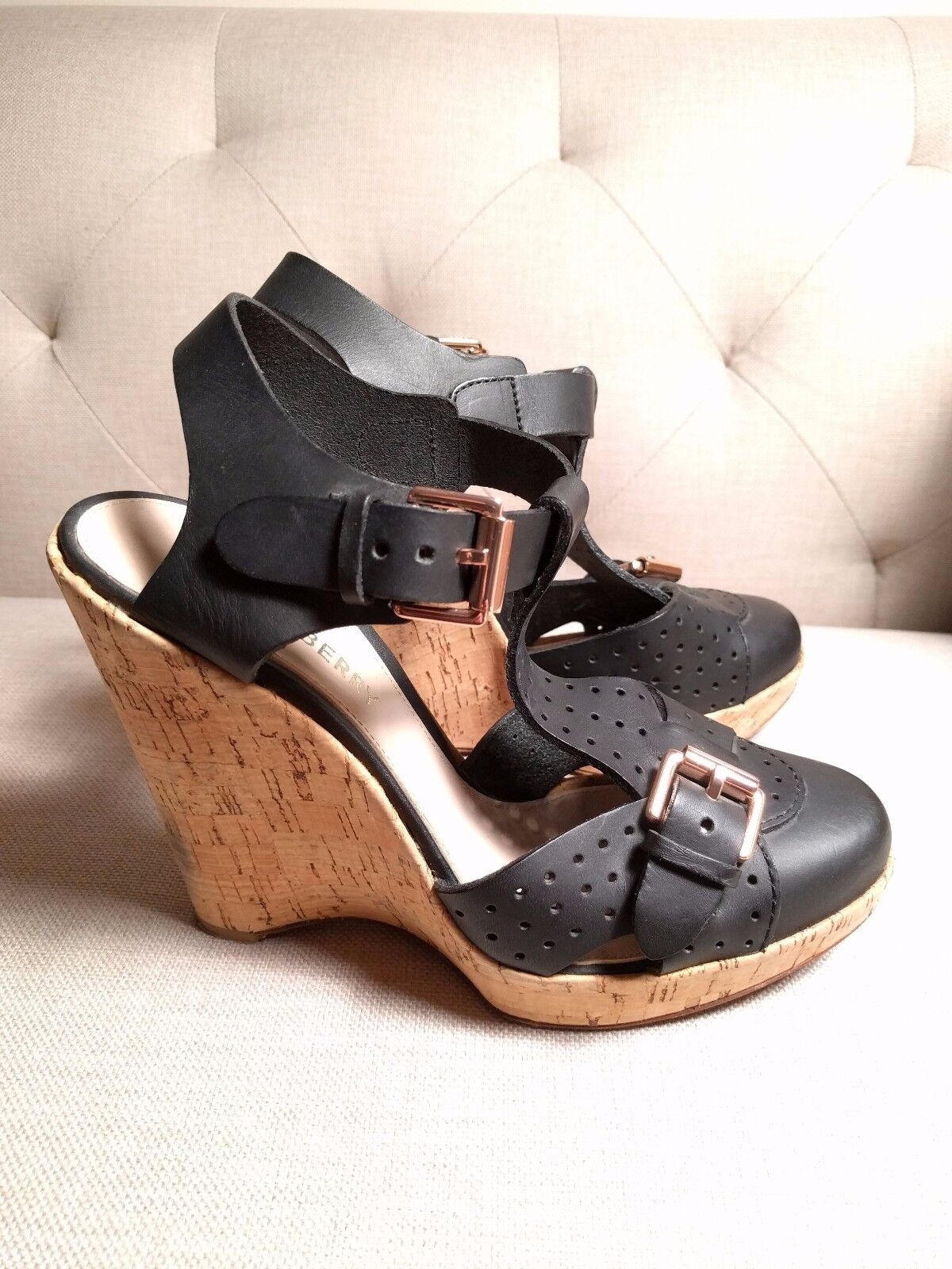 MULBERRY Leather Sandals Cork Wedge black leather buckle 39 9