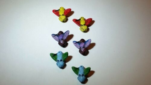 2 CUTE MINI Peruvian Ceramic Hummingbird Earring Beads DIY Charm