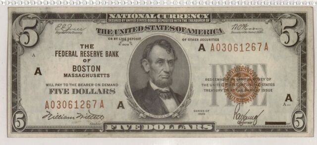 1929 $5 Federal Reserve Bank Note | Small Size Note | Brown Seal | Boston, A