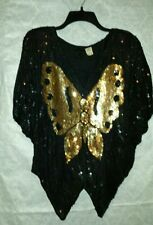 Vtg Gunit Black Gold Silk Sequin Art Deco Trophy Party Plus Size New Years Eve