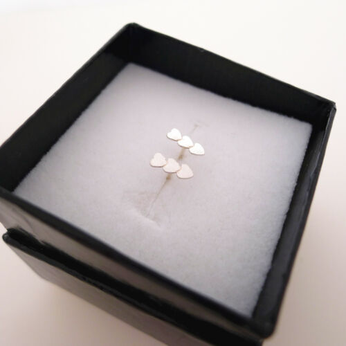Solid 925 Sterling Silver Tiny Lovely Three Triple Love Hearts Post Stud Earring