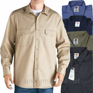 Dickies Work Shirts Mens Long Sleeve Button Front Twill Cotton Ss48