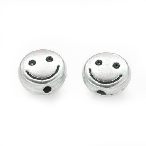 100 Metallperlen SMILEY Disc 5,5x2,5 mm platinfarbig Perlen nenad-design AN603