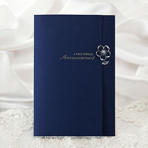 Navy blue silver foil wedding invitations modern layered for Ebay navy wedding invitations