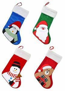 image is loading fleece felt christmas xmas stocking santa snowman penguin
