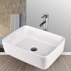 Bathroom-Rectangle-Porcelain-Ceramic-Vessel-Sink-Basin-Bowl-Faucet-Drain-Combo