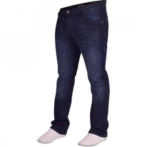 Mens Designer Crosshatch Dark Blue Hardwearing Jeans Straight Leg Denim Jeans