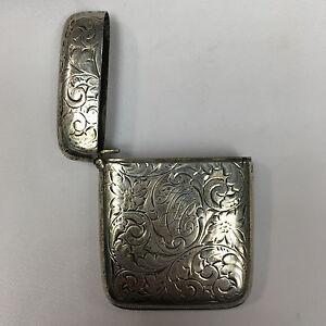 Vintage Sterling Silver Repousse Match Vesta