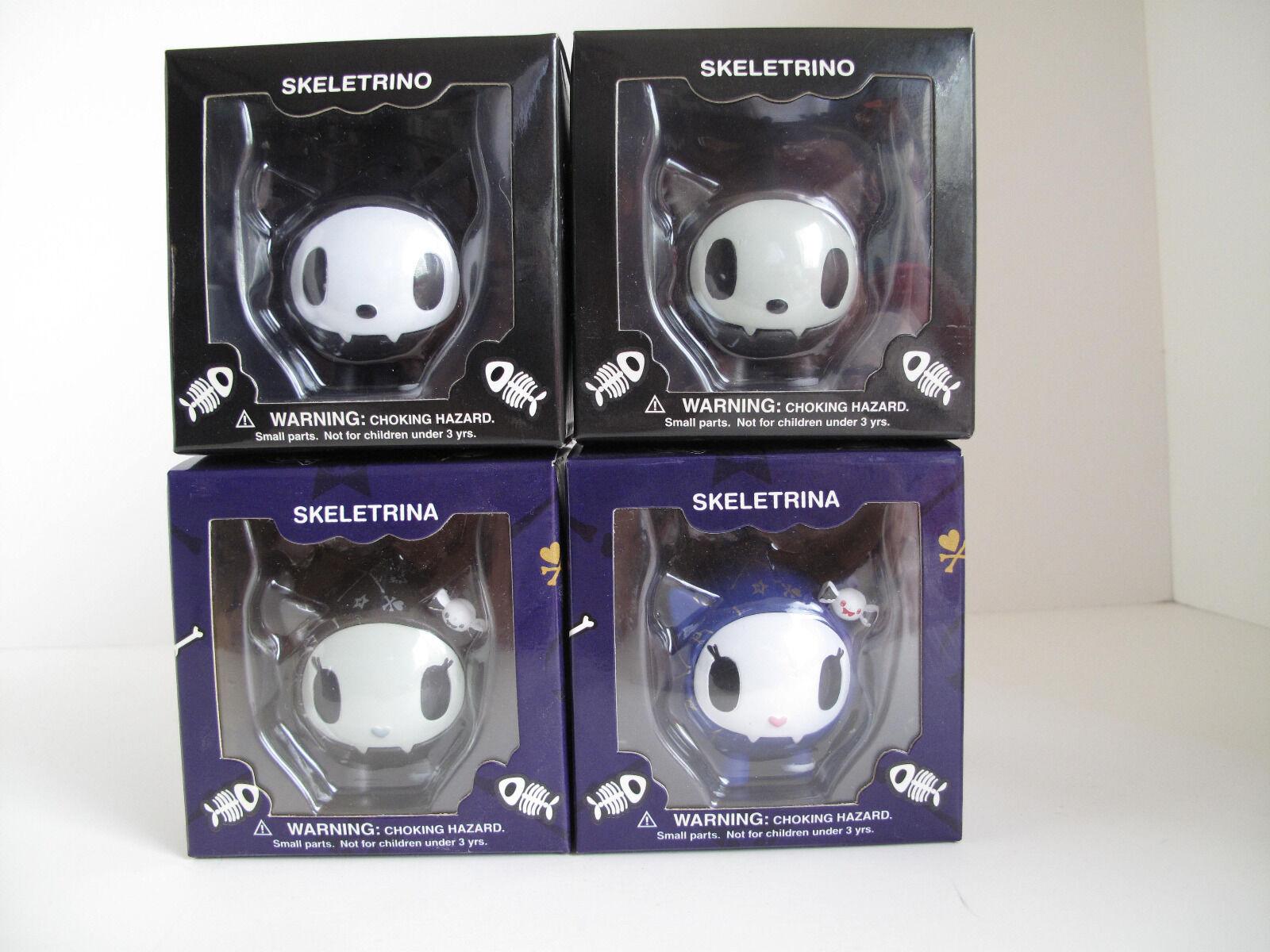 TOKIDOKI SKELETRINO SKELETRINA and SDCC Platinum by Strangeco 4 Set