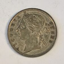 1889 Straits Settlement Ten Cents Silver Coin - High Quality Scans #D082