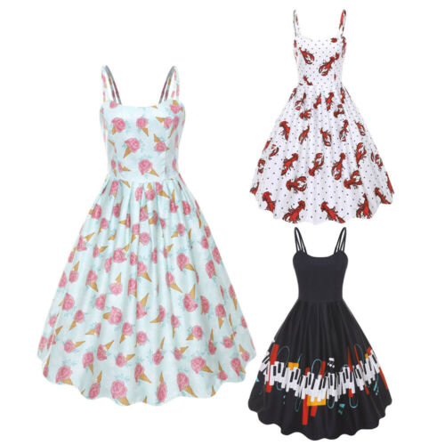 Vintage 50/'S ROCKABILLY Swing Pin Up Housewife Retro Dress Lobster Piano Print