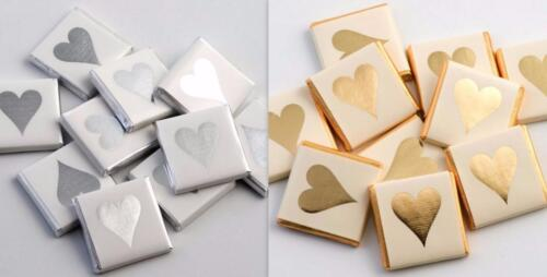 100 200 300 Silver gold Heart milk Chocolate Neopolitans Wedding Favours