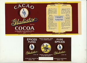 2-VINTAGE-LABELS-GLADIATOR-TEA-amp-COFFEE-REG-039-D-QUEBEC-COCOA-AND-SPICES