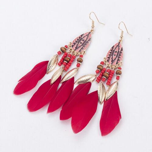 Fashion femmes Bohême Longue Tassel Fringe Feather Boho Dangle Boucles d/'oreilles Bijoux